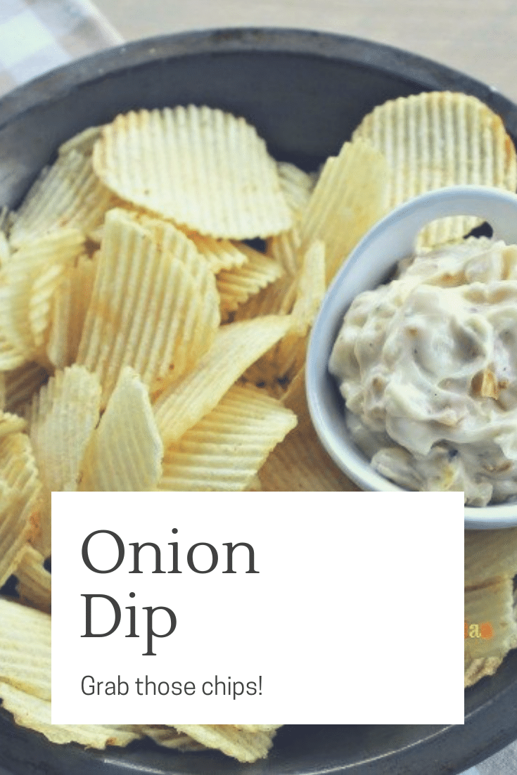 Onion Dip is a savory snack that will please your family and friends. Crack open a bag of chips and dig in!