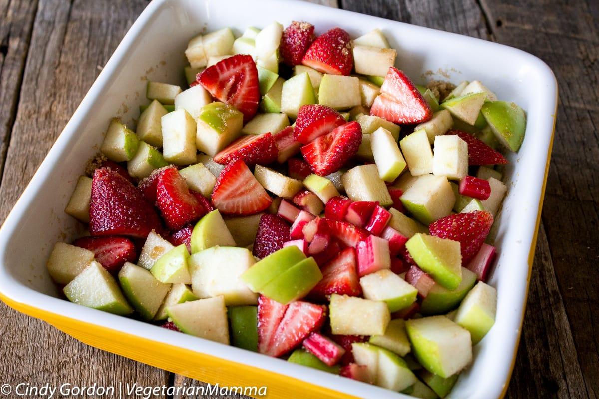 diced fruit in casserole for strawberry rhubarb crisp