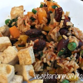 Tofu with Spanish Rice and Beans