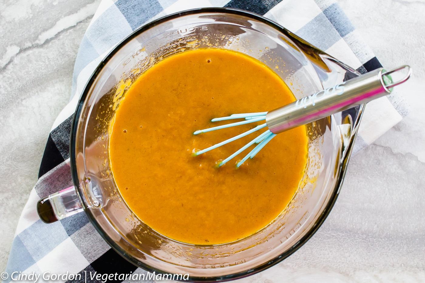 Wet ingredients for Gluten Free Pumpkin Bread