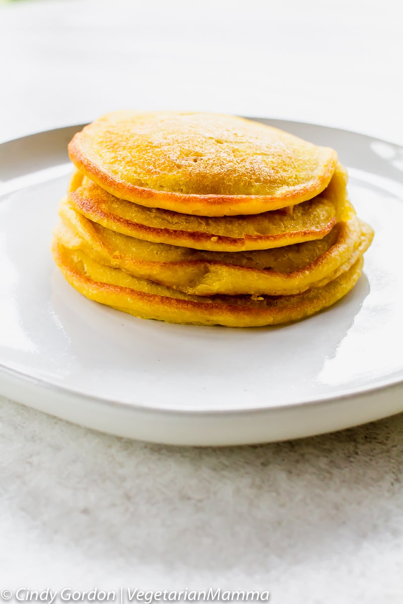 Tall stack of Gluten Free Pumpkin Pancakes