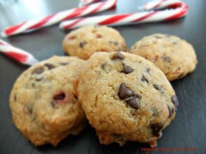 Candy Cane Chocolate Chip Cookies – #glutenfree #vegan