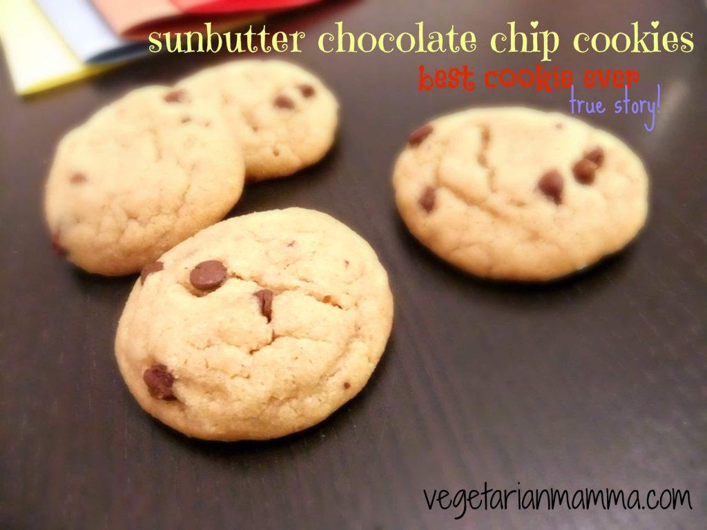 chocolate chip sunbutter cookies gluten free vegetarianmamma.com