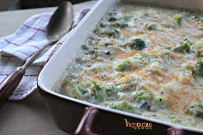 Cheesy Broccoli Casserole is made with cheddar cheese and hash browns.