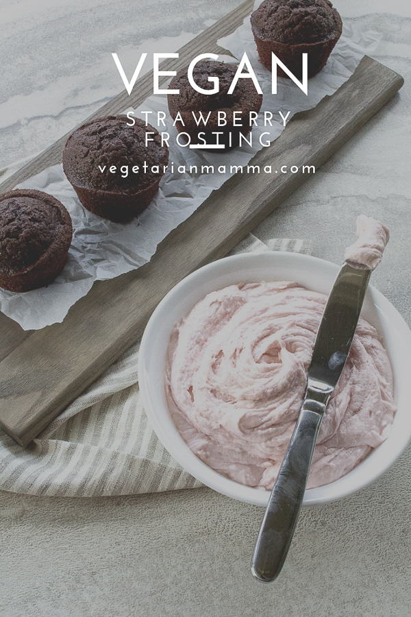 vegan strawberry frosting pin with text overlay