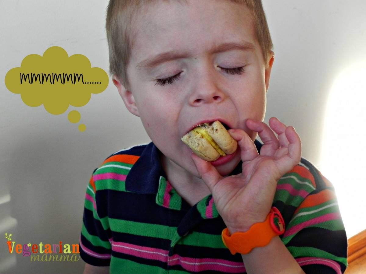 Kid Reaction to IMonk Bakery Whoopie Pies #nutfree vegetarianmamma.com