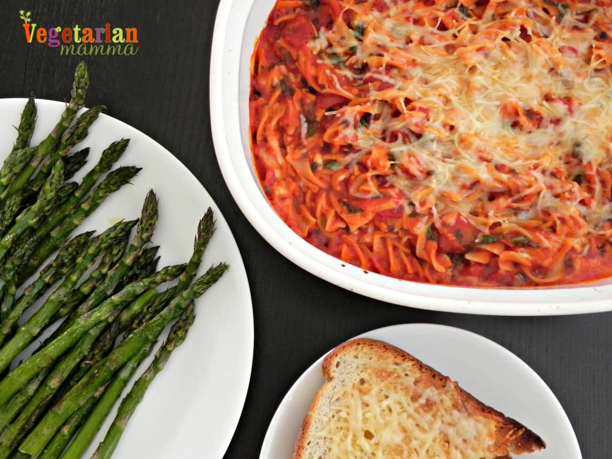 Easy Baked Spaghetti #glutenfree vegetarianmamma.com