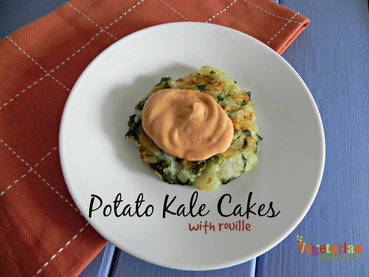 Potato Kale Cakes with Rouille - #glutenfree - Vegetarian Mamma