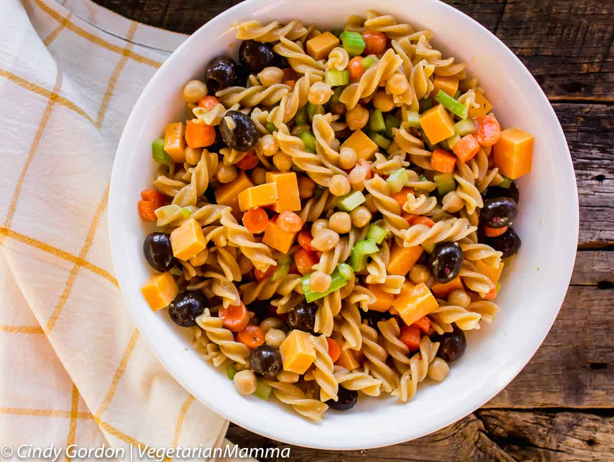 summer pasta salad made with gluten-free pasta