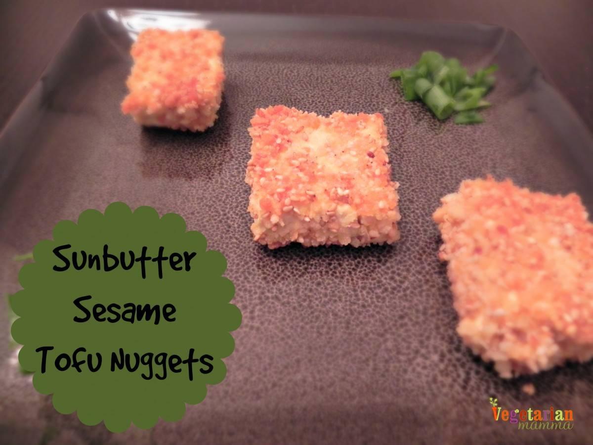 Sunbutter Sesame Tofu Nuggets #glutenfree #nutfree vegetarianmamma.com