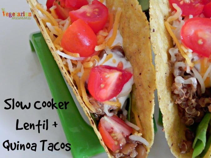 Slow Cooker Lentil and Quinoa Tacos #glutenfree vegetarianmamma.com