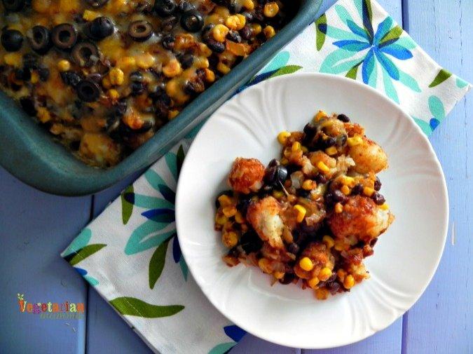 Mexican Tator Tot Casserole #glutenfree @vegetarianmamma.com