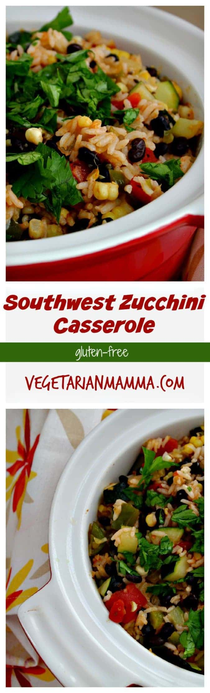 Southwest Zucchini Casserole - #glutenfree #vegetarian #zucchini #casserole #nutfree #dairyfree options @vegetarianmamma.com