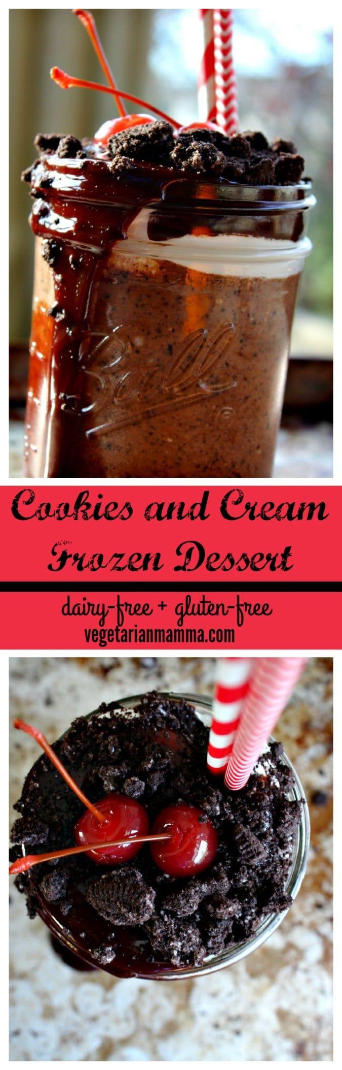 Cookies and Cream Frozen Dessert @vegetarianmamma.com #glutenfree #dairyfree #shake #dessert