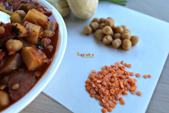 lentils and chickpeas on a piece of parchment