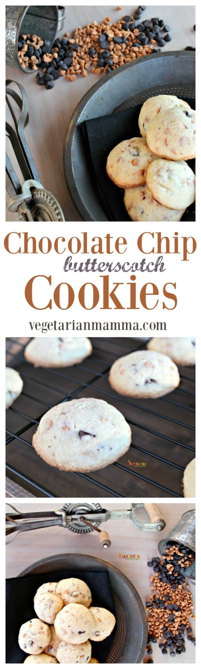 Chocolate Chip Butterscotch Cookies #glutenfree #gfree @vegetarianmamma.com #cookies