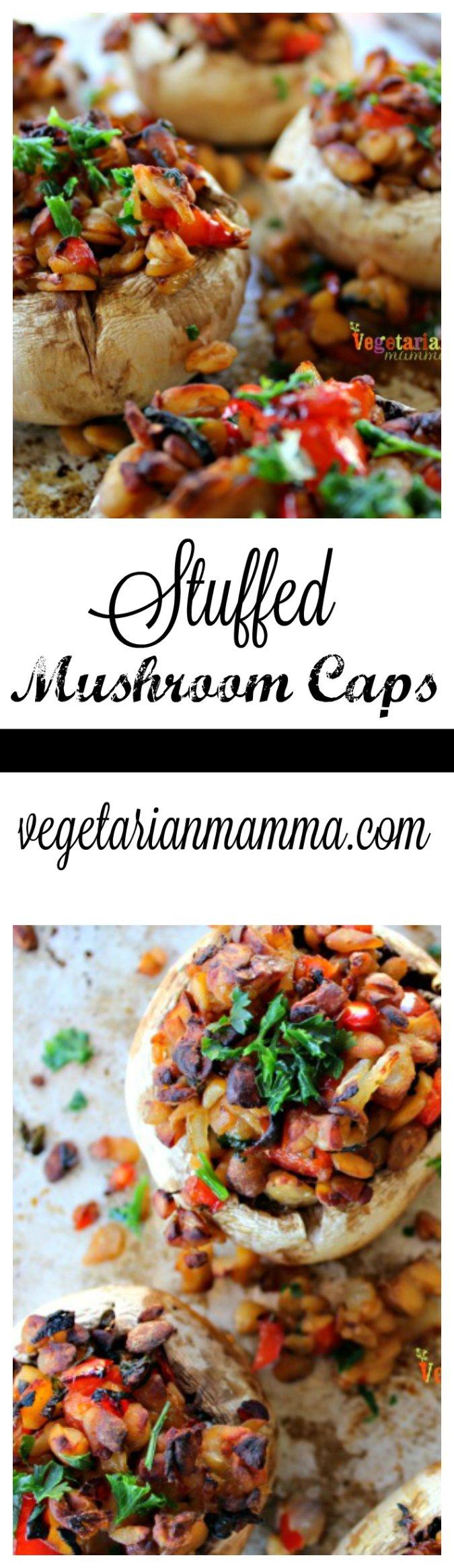 Stuffed Mushroom Caps @vegetarianmamma.com #mushroom #glutenfree #vegetarian