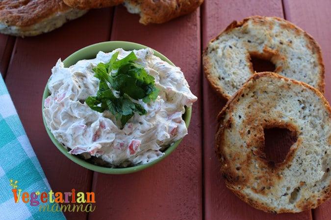 Vegetable Cream Cheese @vegetarianmamma.com #breakfast #dairyfree