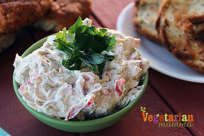 Vegetable Cream Cheese #dairyfree @vegetarianmamma.com