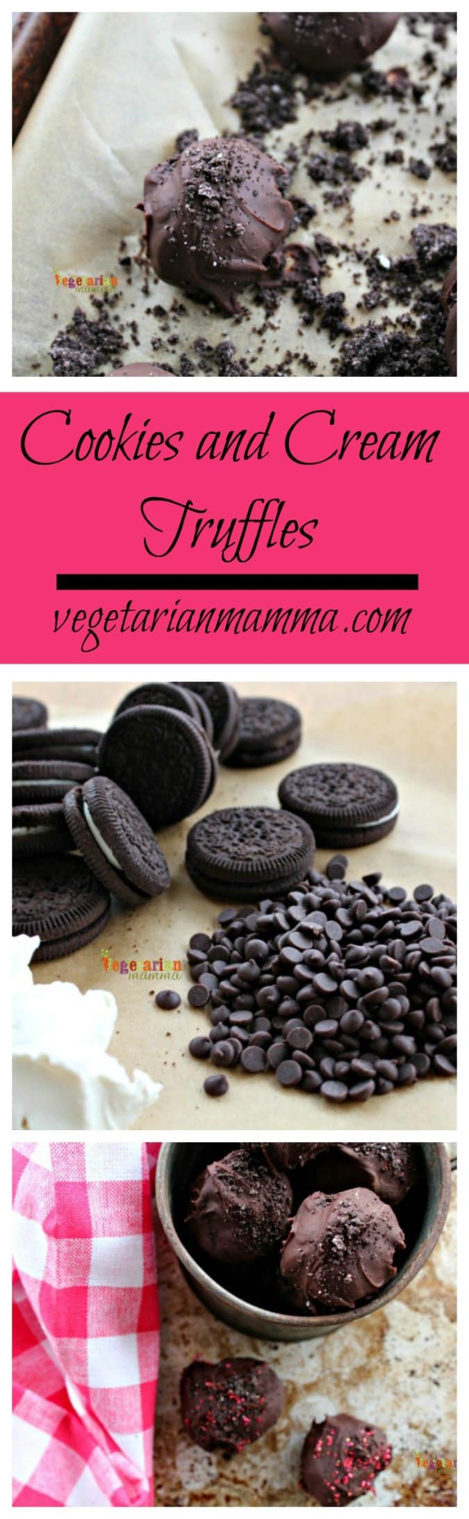 Cookies and Cream Truffles @vegetarianmamma.com #truffle #dairyfree #glutenfree #nutfree #chocolate #dessert #valentines