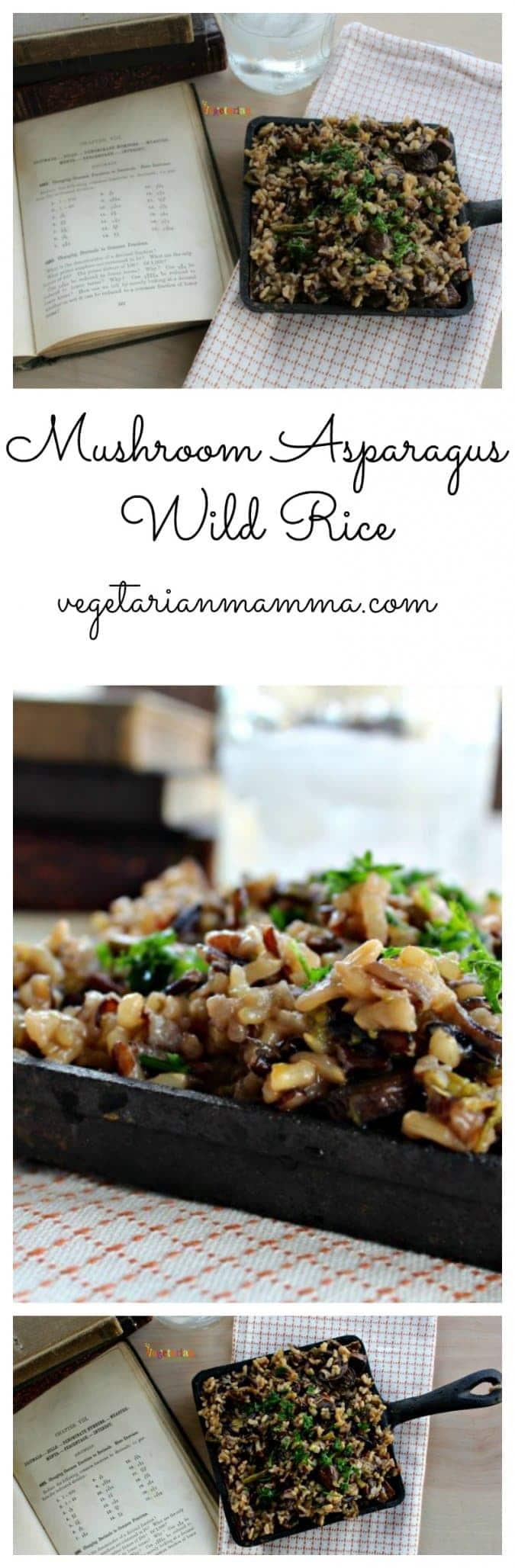 Mushroom Asparagus Wild Rice @vegetarianmamma.com #glutenfree #vegan #rice #mushroom #casserole #asparagus #vegetarian