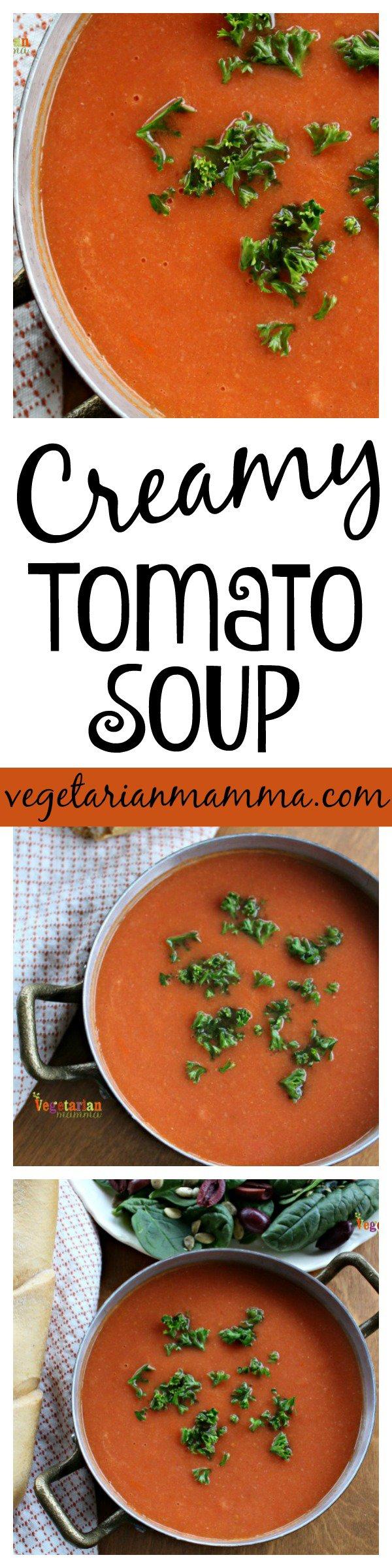 Creamy Tomato Soup tall pin @vegetarianmamma.com
