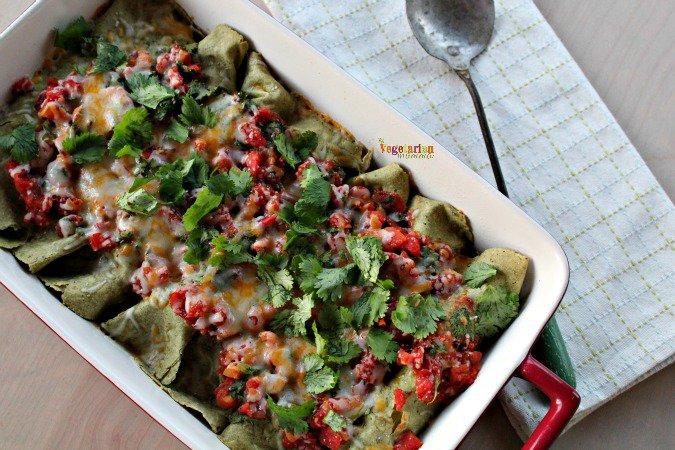 casserole of vegetarian gluten free enchiladas