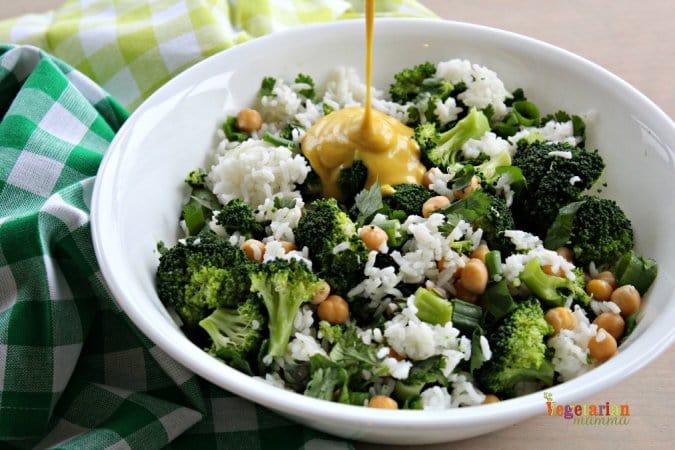 Honey Mustard Broccoli Bowl @vegetarianmamma.com 2