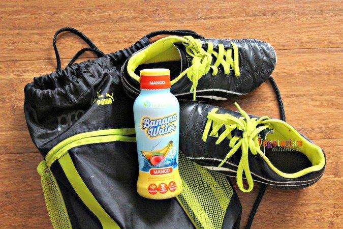 banana water @vegetarianmamma.com #soccerpractice