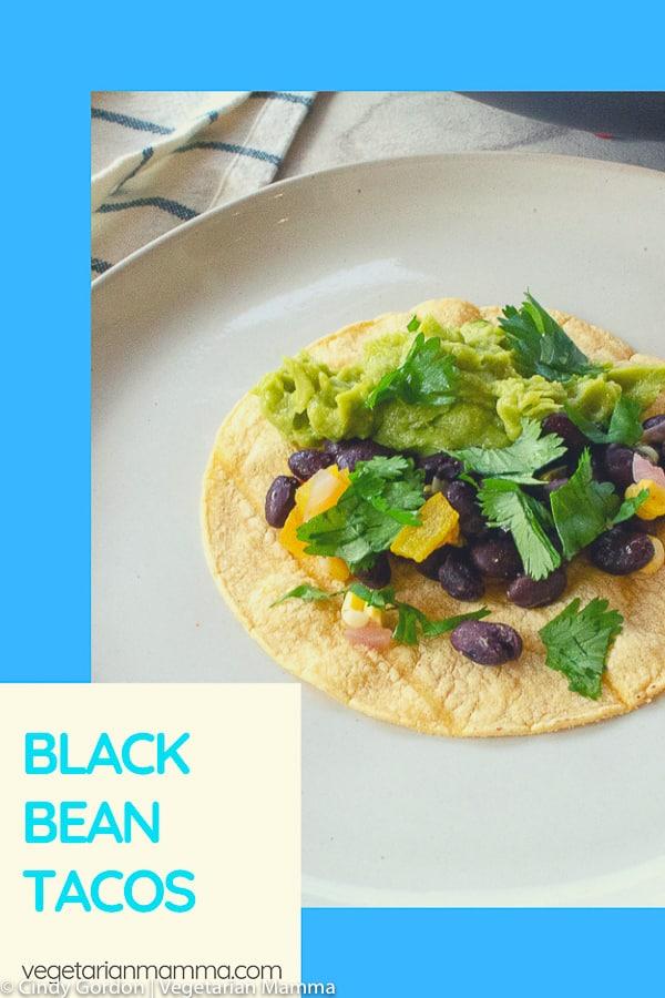 vegetarian black bean tacos pin