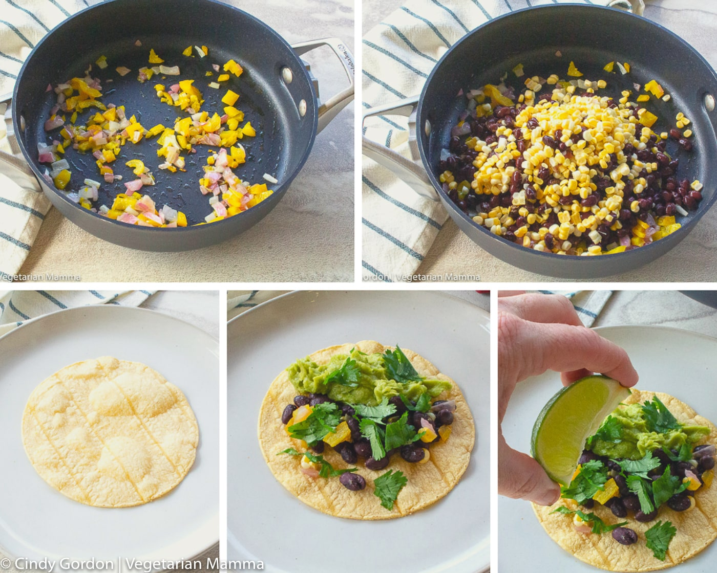 collage of how to make black bean tacos