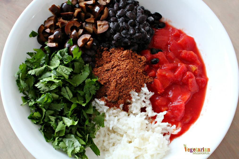 Ingredients for Mexican Rice Casserole - Rice, tomatoes, olives, black beans, spices