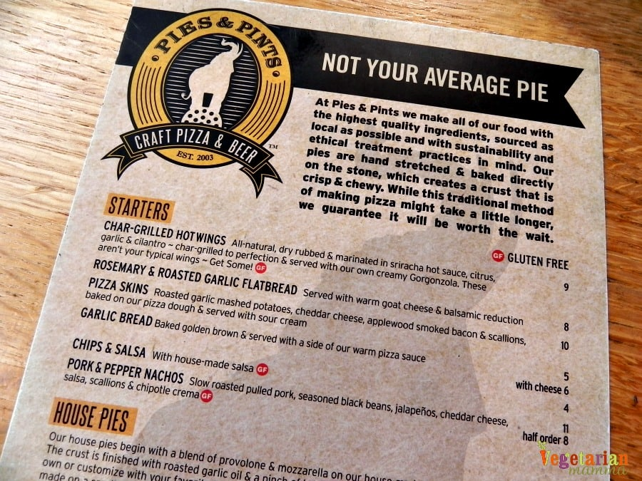 Pies and Pints #review @vegetarianmamma.com menu