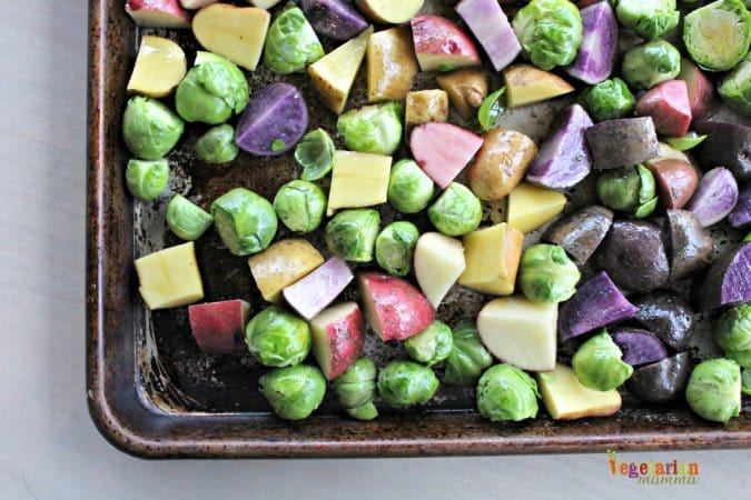 Roasted Potatoes and Brussel Sprouts @vegetarianmamma.com Getting Ready to Roast