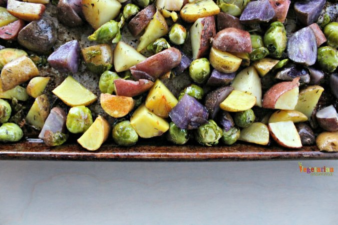 Roasted Potatoes and Brussel Sprouts @vegetarianmamma.com gluten free and vegan