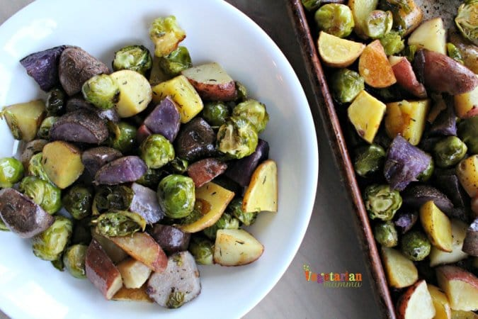 Roasted Potatoes and Brussel Sprouts @vegetarianmamma.com 5