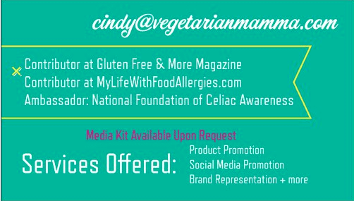 Food Blogger and Expos @vegetarianmamma.com Business Card Back
