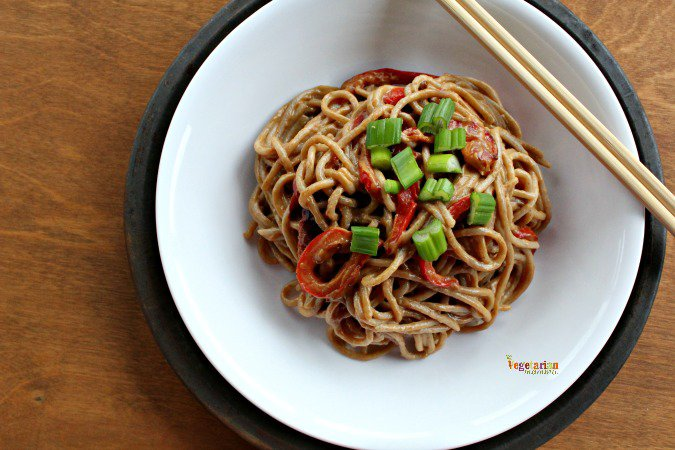 Sunbutter Spaghetti with Red Peppers @VegetarianMamma.com Easy Dinner