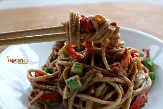 Sunbutter Spaghetti with Red Peppers @VegetarianMamma.com Peanut Free Dish