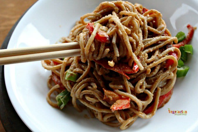 Sunbutter Spaghetti with Red Peppers @VegetarianMamma.com