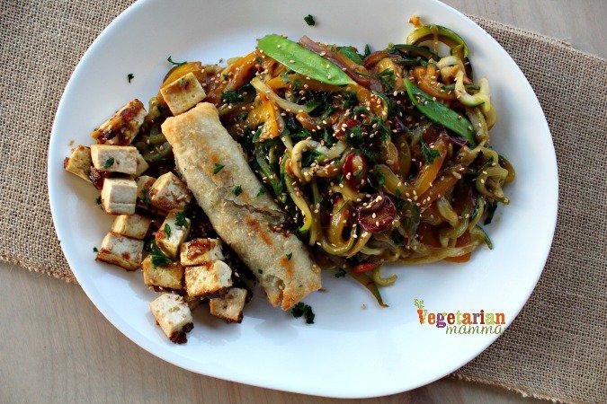 Zucchini Noodle Stir Fry @vegetarianmamma.com