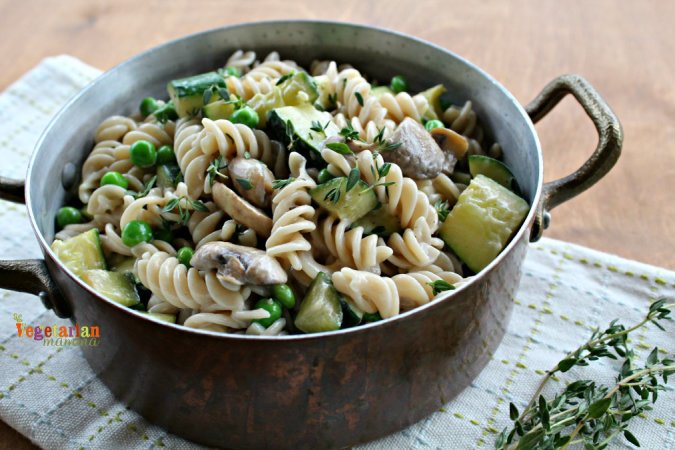 pot of Zucchini and Mushroom Pasta