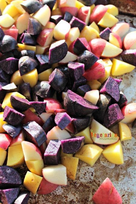 Deli Style Potato Salad @vegetarianmamma.com - Rainbow Potatoes