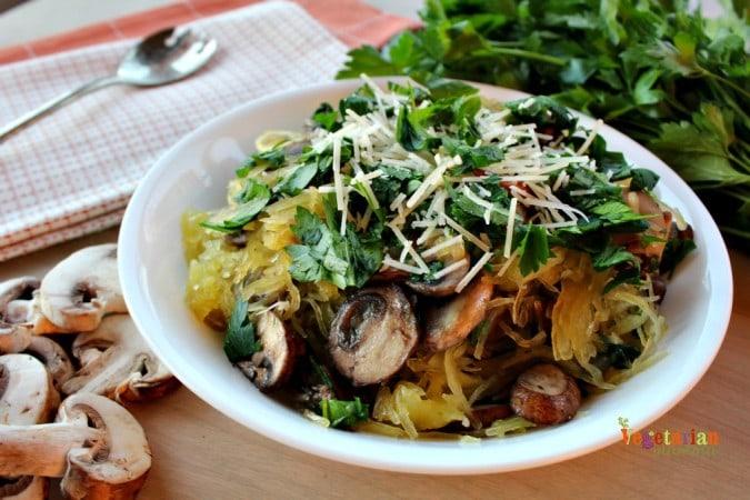 Vegan Mushroom Spaghetti Squash is easy to make!