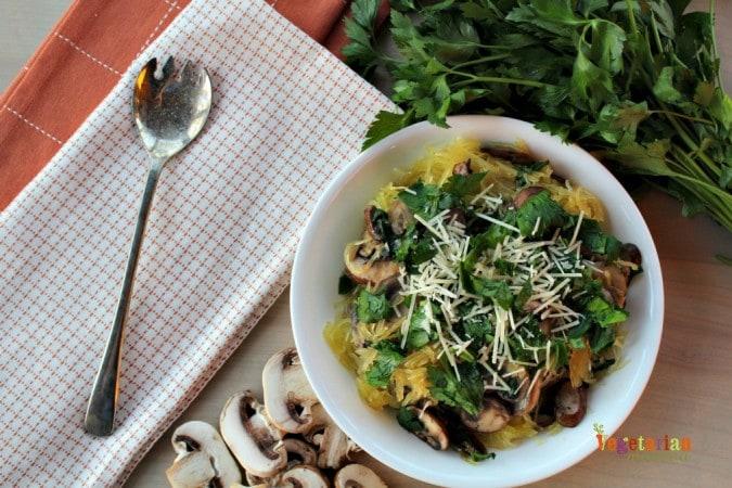 Vegan Mushroom Spaghetti Squash is an easy meal!