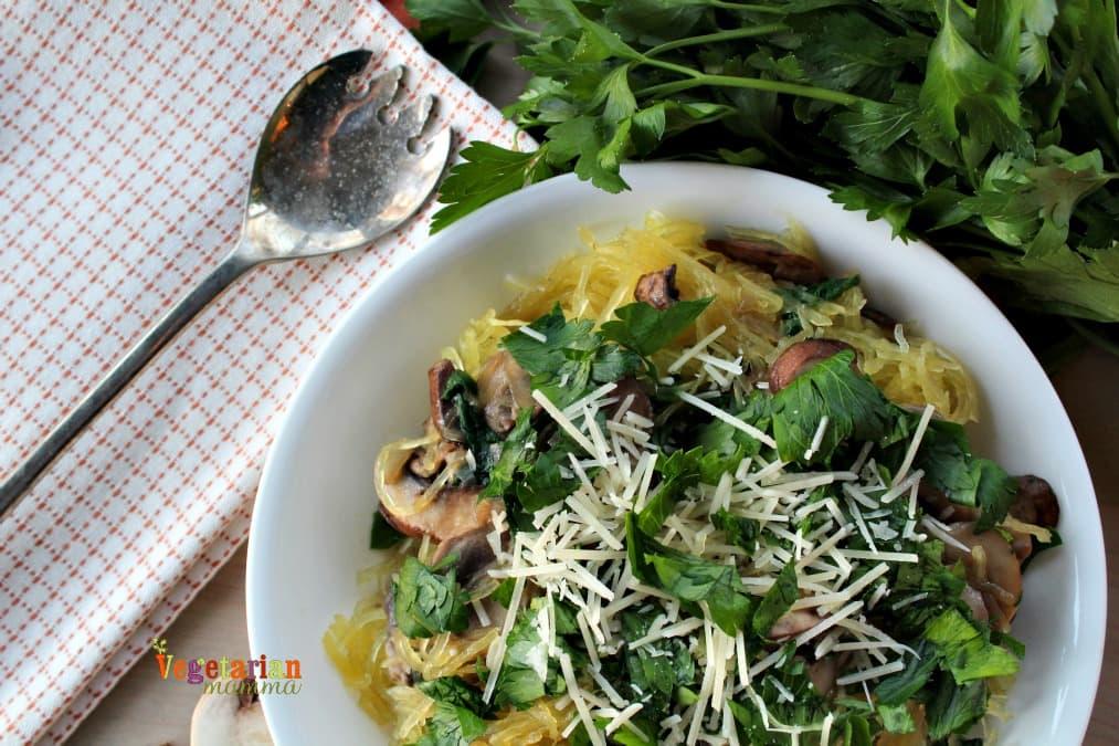 Mushroom Spaghetti Squash - the mushrooms bring a delicious earthy undertone. Vegan, Vegetarian