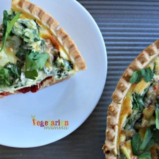 Simple Quiche – Spinach + Roasted Red Peppers
