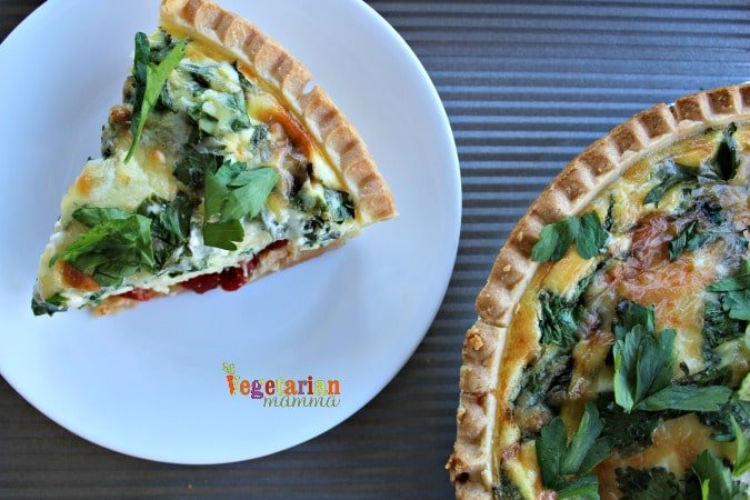 Simple Quiche - @vegetarianmamma.com - Enjoy a slice of gluten-free quiche