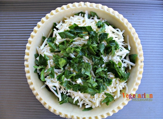 Simple Quiche - @vegetarianmamma.com - Fresh Parsley and Cheese