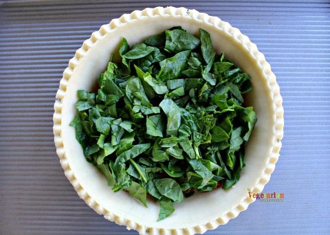 Simple Quiche - @vegetarianmamma.com - Fresh Sprinach